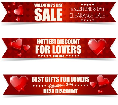 Valentine Day Big Sale Vector Banners Set 02 Free Download