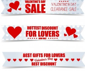 Valentine Day big sale vector banners set 03