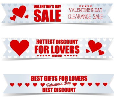 Valentine Day Big Sale Vector Banners Set 03 Free Download