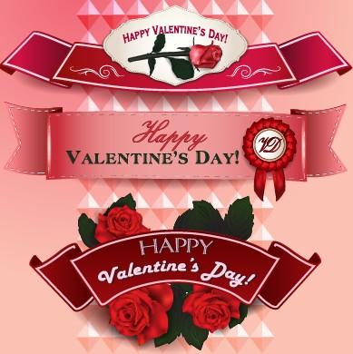 Valentine Day ribbon banner creative vector 01