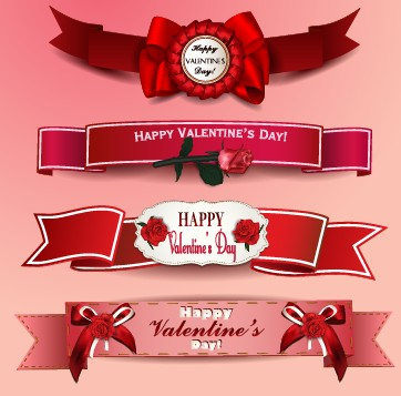 valentine day ribbon banner creative vector 02