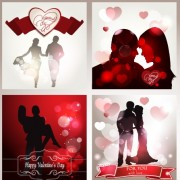 Link toValentine backgrounds with lovers silhouettes vector