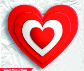 Paper heart Valentine Day vector background 01