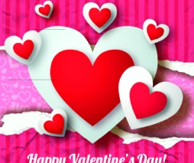 Paper heart Valentine Day vector background 04