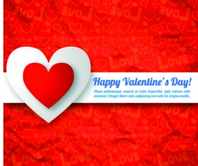 Paper heart Valentine Day vector background 05