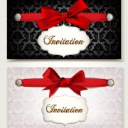 Link toVintage invitation cards and red bow vector 02
