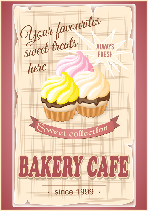 Vintage Bakery Cafe Poster Cover Vector
