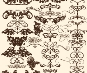 Vintage calligraphic ornament elements vector 02