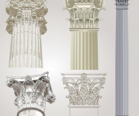 Vintage columns design elements vector 01