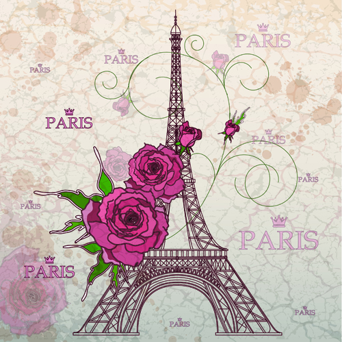 Vintage eiffel tower design background 02