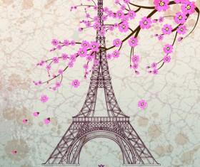 Vintage eiffel tower design background 03
