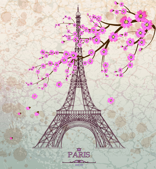 Vintage Eiffel Tower Design Background 03 Vector