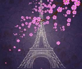 Vintage eiffel tower design background 04