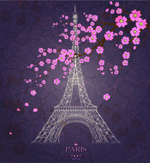 Vintage Eiffel Tower Design Background 04 Free Download
