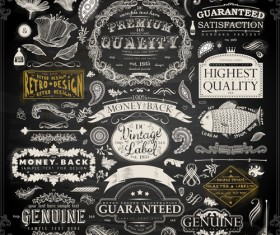 Vintage ornaments covers for labels and frame vector 01