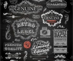 Vintage ornaments covers for labels and frame vector 02