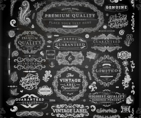 Vintage ornaments covers for labels and frame vector 05