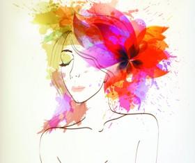 Watercolor floral woman creative design 01