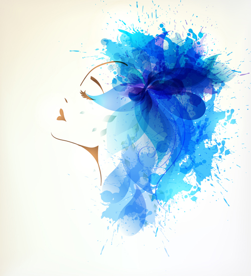 Watercolor floral woman creative design 02