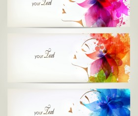 Watercolor floral woman creative design 03
