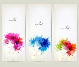 Watercolor floral woman creative design 04