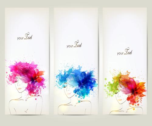 Watercolor Floral Woman Creative Design 04 Vector Floral