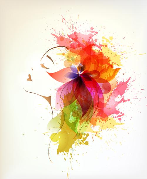 Watercolor floral woman creative design 05