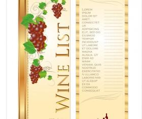 Wine menu list creative vector 03