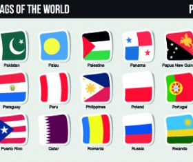 World flags stickers design vector set 06