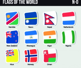World flags stickers design vector set 09
