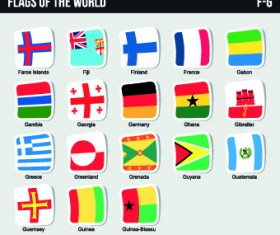 World flags stickers design vector set 10