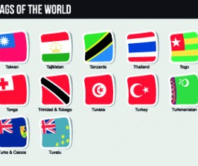 World flags stickers design vector set 11