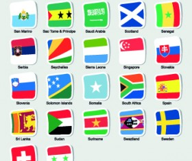 World flags stickers design vector set 12