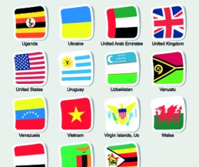 World flags stickers design vector set 13