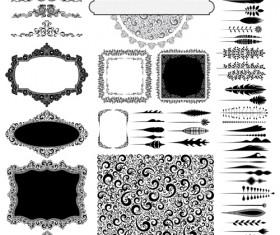 Ornaments elements border and frames vecor 01