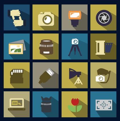 Vector flat social icons set 03
