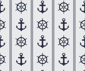 Nautical elements seamless pattern vector 03