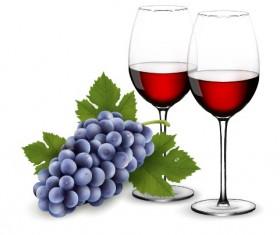 purple grape with wine design vectors