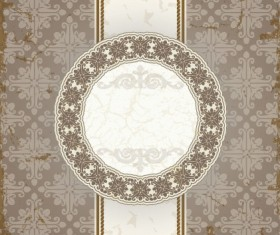 Vintage floral background with round frame vector 03