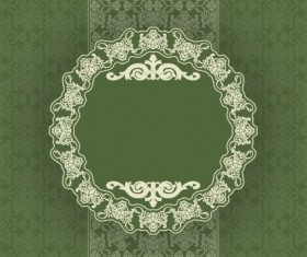 Vintage floral background with round frame vector 04