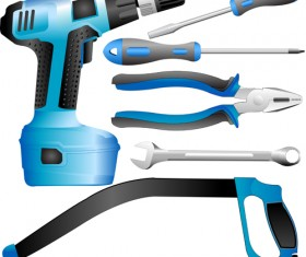 Realistic hardware tools vector graphic set 04