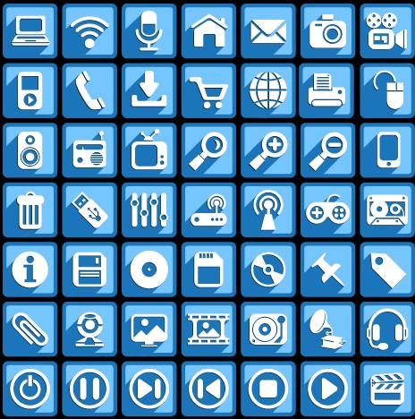Creative white social Icons vector graphic 01