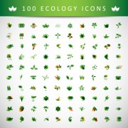 Link to100 kind ecology icons design vector