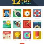 12 kind flat seo icons