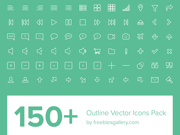 150 kind creative outline icons vector pack