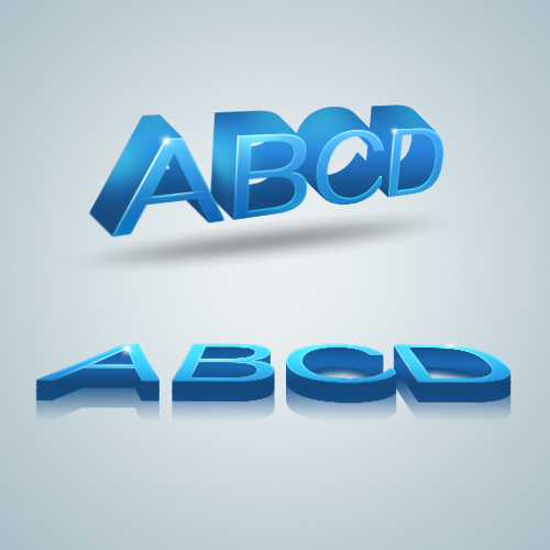 3D blue alphabet creative psd material