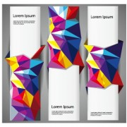 Link to3d colored shapes banners vector set 02
