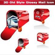 Link to3d red mail icons vector graphics