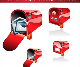 3D red mail icons vector graphics