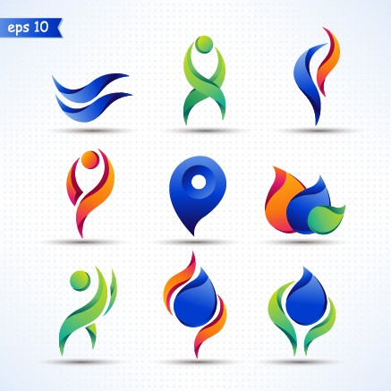 3d abstract color logos design ...